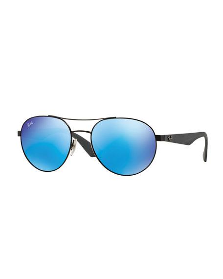 Ray-Ban Round Mirror-Framed Aviator Sunglasses, Blue