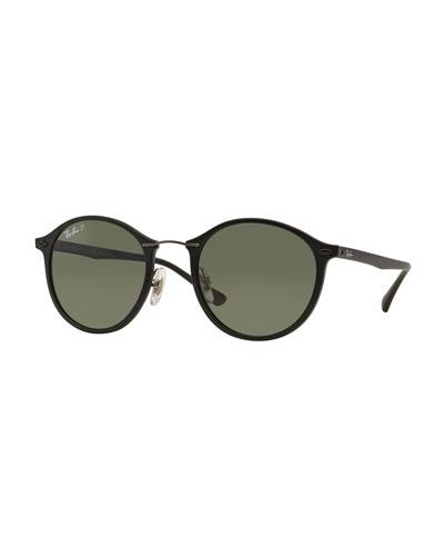 Men's Classic Round Sunglasses, Black