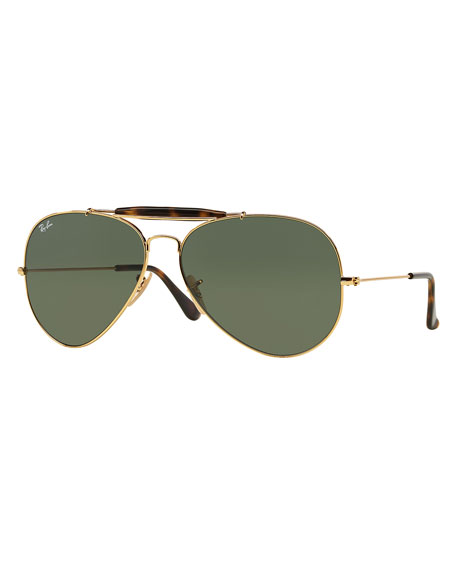 Ray-BanHavana Metal Aviator Sunglasses, Gold/Dark Green