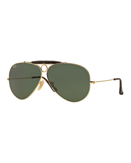 Ray-Ban Havana Metal Aviator Sunglasses w/ Bullet Hole,