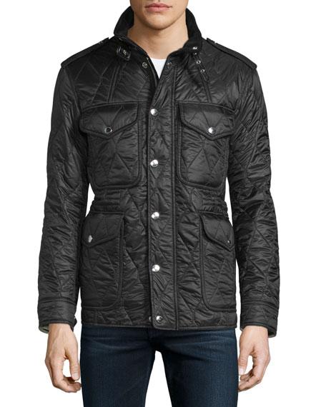 Garrington Quilted Zip-Up Jacket, Black
