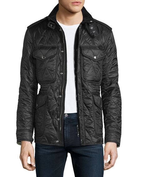 Burberry Garrington Quilted Zip-Up Jacket, Black