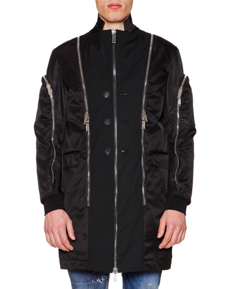 Dsquared2 Oversized Jacket W/Allover Zip Details, Black