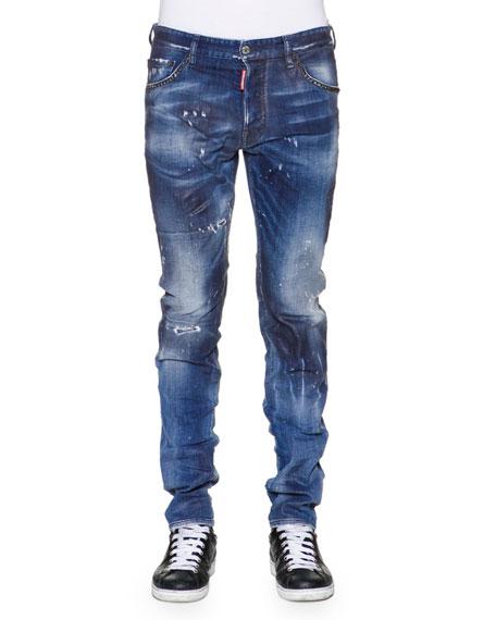 Dsquared2 Cool Guy Paint-Splattered Denim Jeans, Blue