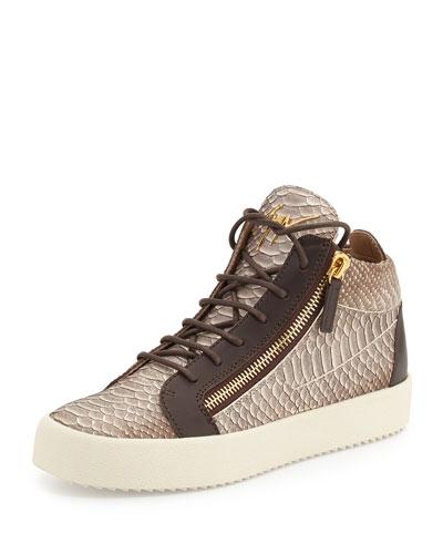 Men's Snake-Embossed Leather Mid-Top Sneaker, Light Brown