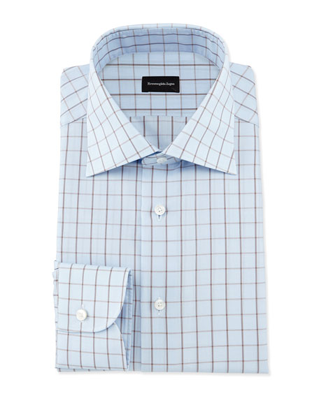 Ermenegildo Zegna Box-Check Dress Shirt, Light Blue