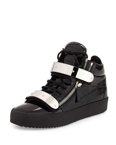Men's Double-Strap Patent Leather Mid-Top Sneaker, Black
