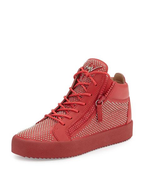 Giuseppe Zanotti Men's Studded Leather Mid-Top Sneaker, Red