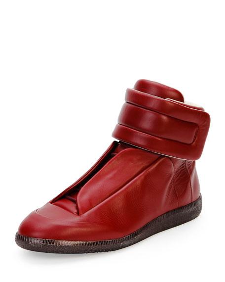 maison margiela future leather high top sneaker bordeaux. Black Bedroom Furniture Sets. Home Design Ideas