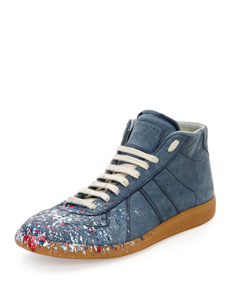 Maison Margiela Replica Paint-Splatter Mid-Top Sneaker, Navy