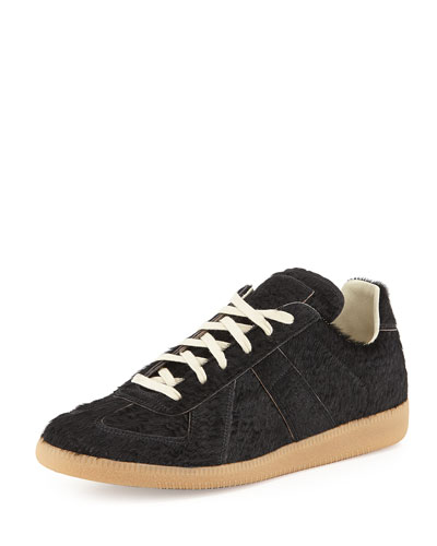 Replica Calf Hair Low-Top Sneaker, Black