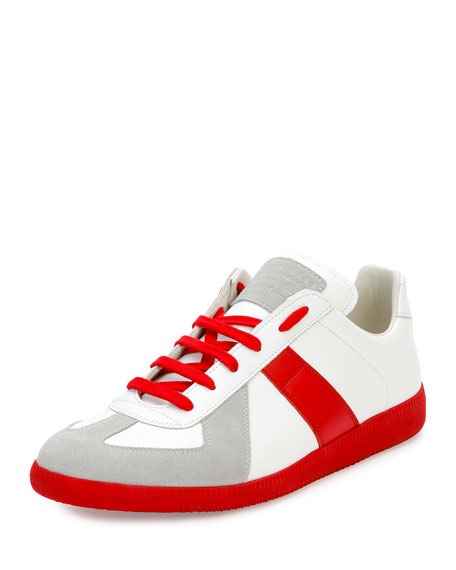 Maison Margiela Replica Colorblock Low-Top Sneaker, White/Red