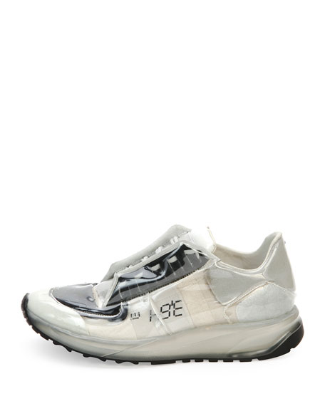 Transparent Lace-Up Trainer Sneaker, White/Black