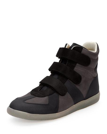 Maison Margiela Three-Strap Leather High-Top Sneaker, Black/Navy/Gray