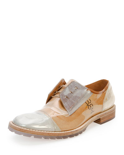 Transparent Deconstructed Leather Oxford, Beige