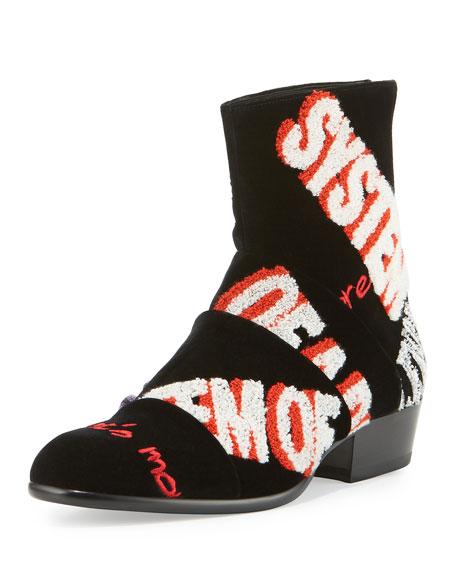 Maison Margiela Embroidered Velvet Ankle Boot, Black