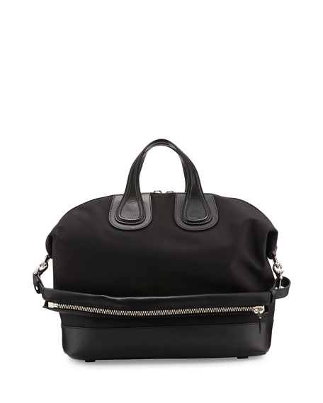 Givenchy Nightingale Canvas & Leather Satchel Bag, Black