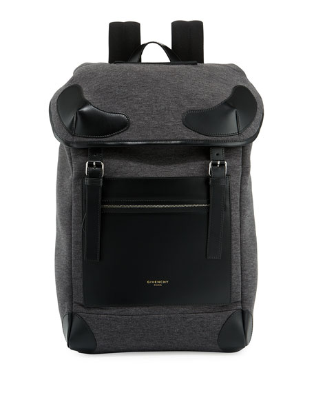 Givenchy Rider Flannel & Leather Backpack, Gray