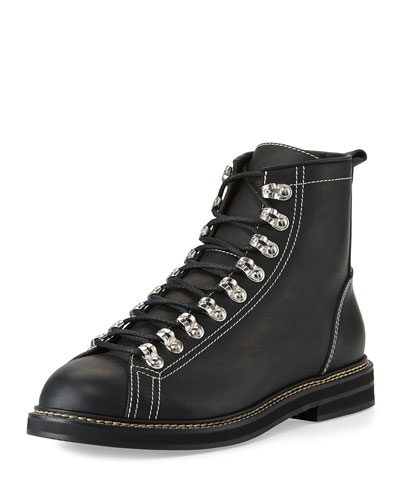 Tyrol Leather Lace-Up Boot, Black