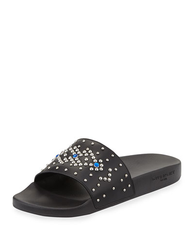 Studded Rubber Slide Sandal, Black/Blue