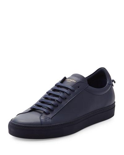 Men's Leather Low-Top Sneaker, Navy