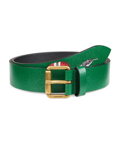 Snake-Print Leather Belt, Green