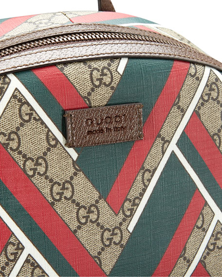 GG Chevron Canvas Backpack, Red/Green