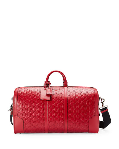 Signature Large Leather Duffel Bag, Red