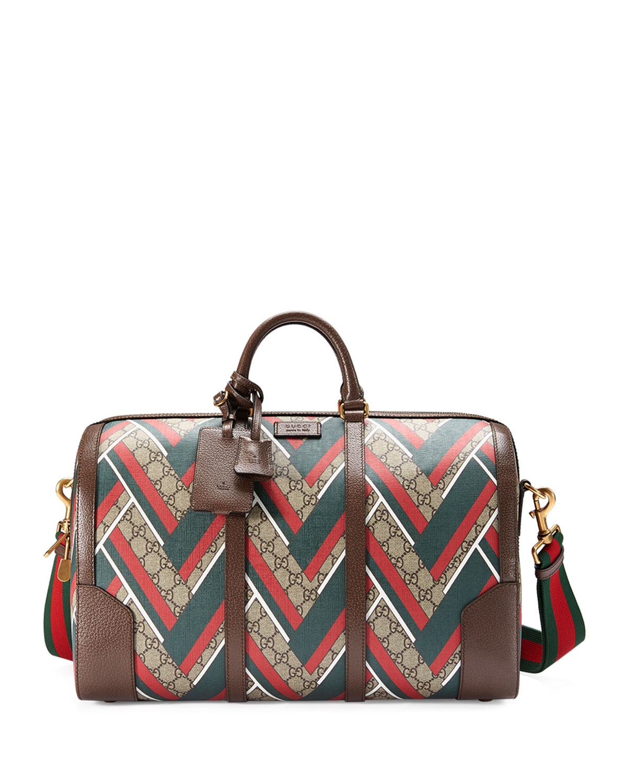 6c38d6e9630a Gucci GG Chevron Canvas Duffel Bag