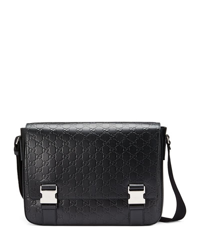 Signature Leather Messenger Bag, Black