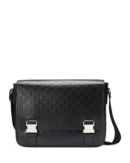 Gucci Signature Leather Messenger Bag, Black