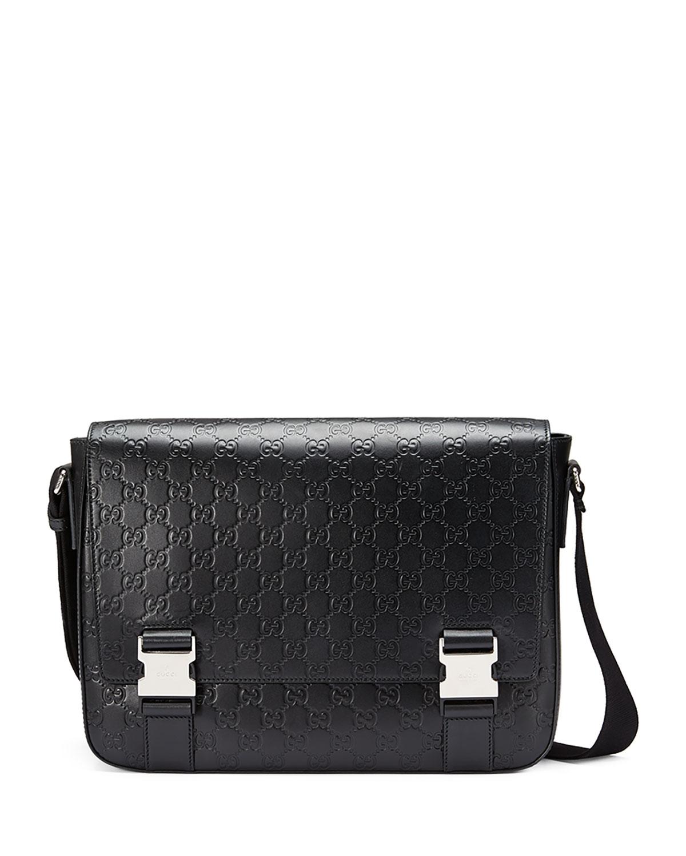 b9c828a33cf81e Gucci Signature Leather Messenger Bag, Black   Neiman Marcus