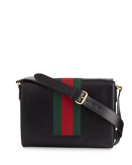 Gucci Men's Leather Messenger Bag w/Web, Black
