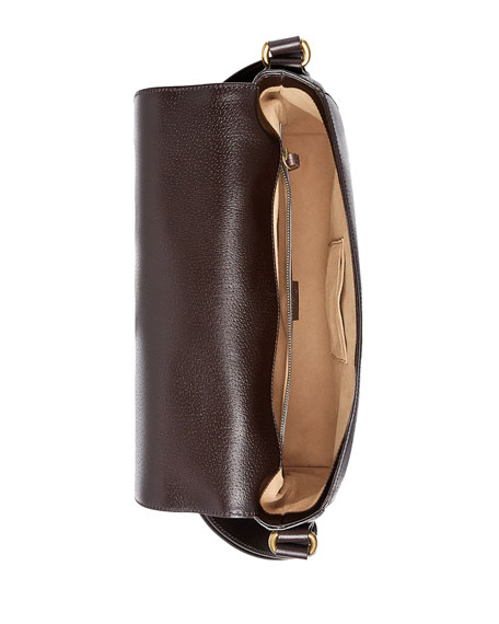 Textured Leather Messenger Bag w/Web, Brown