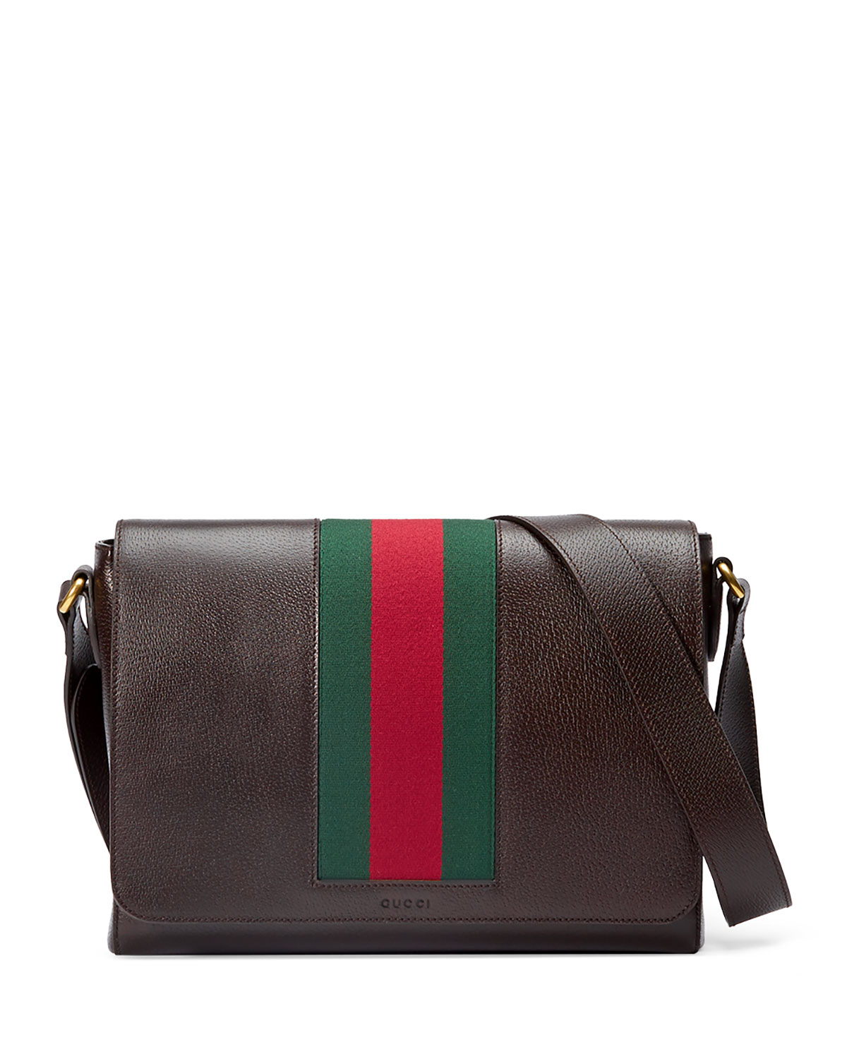 b43dbf56a6aa1 Gucci Textured Leather Messenger Bag w Web
