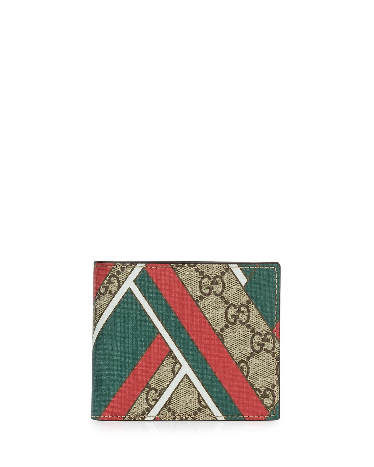 54f0efd5a747 Gucci GG Chevron Canvas Bi-Fold Wallet, Red/Green | Neiman Marcus