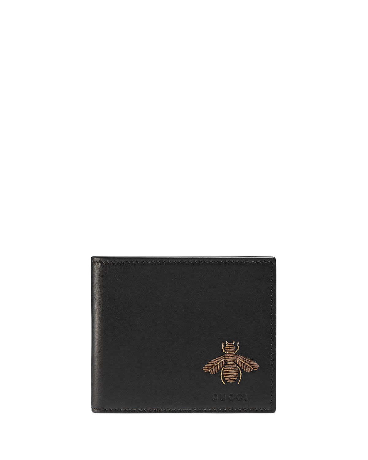 89553b862d4233 Gucci Bee Embroidery Bi-Fold Leather Wallet | Neiman Marcus