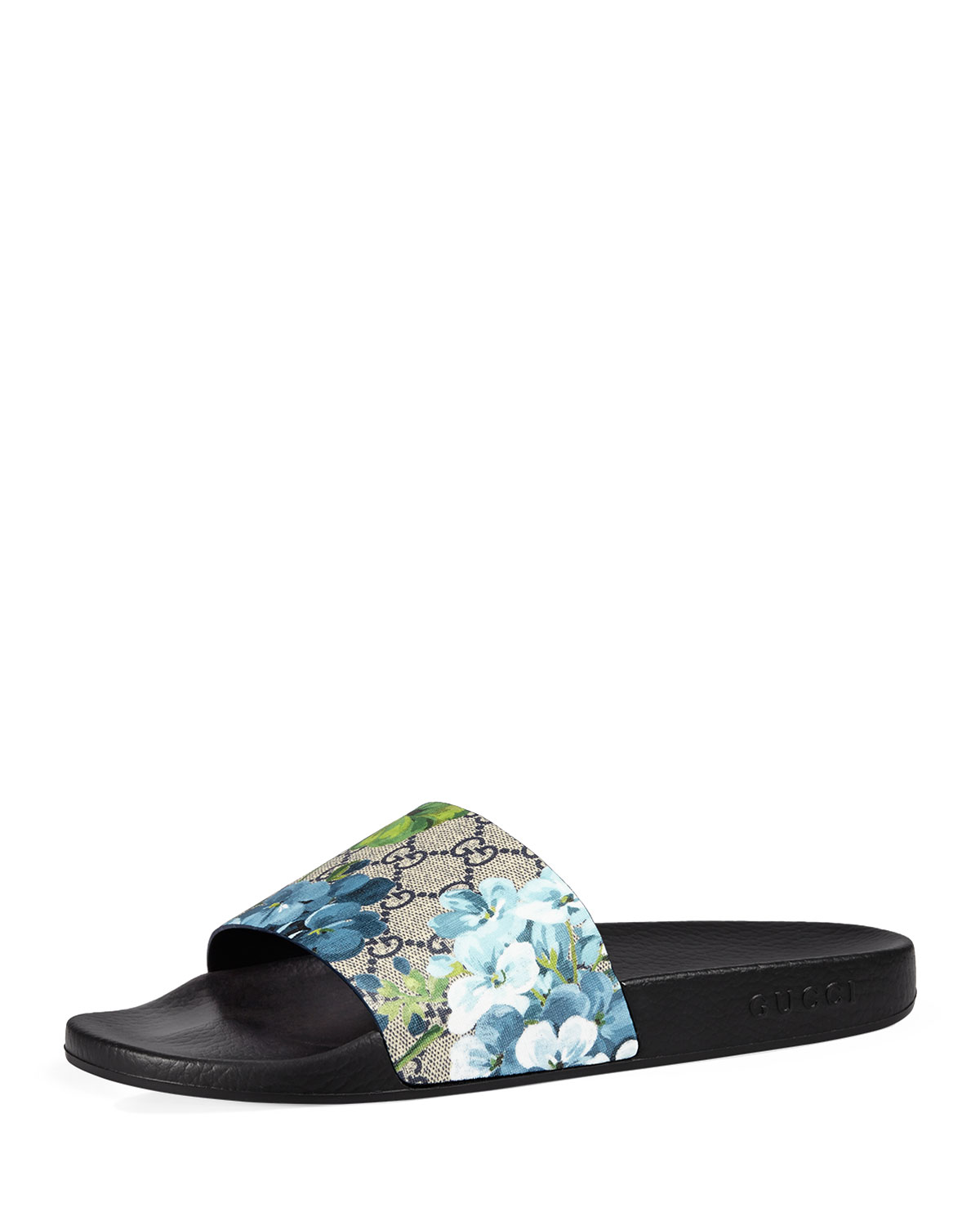 26fd42f9c21 Gucci Men s Pursuit GG Blooms Canvas Sandals