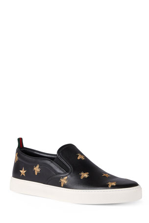 Gucci Men's Dublin Bee & Star Embroidered Leather Slip-On Sneakers