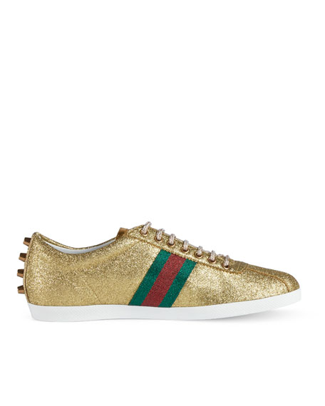 ee106001f Gucci Bambi Web Low-Top Sneaker with Stud Detail, Gold | Neiman Marcus