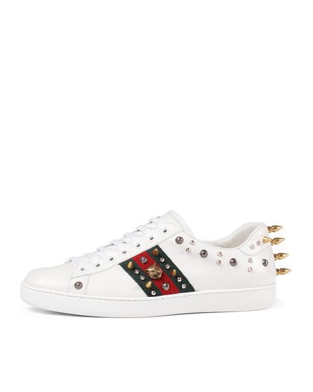 1d5ad1c461c Gucci New Ace Studded Leather Low-Top Sneaker