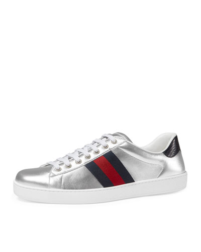 New Ace Metallic Leather Low-Top Sneaker