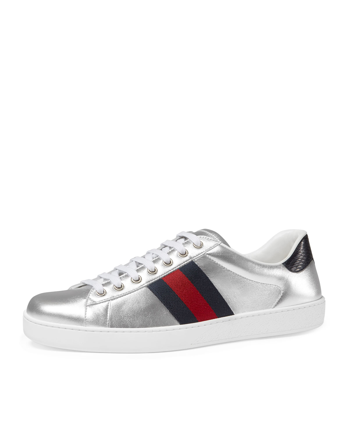 22fec3532ed Gucci New Ace Metallic Leather Low-Top Sneaker