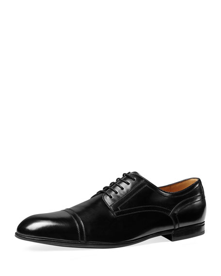 Gucci Ravello Leather Oxford Shoe, Black