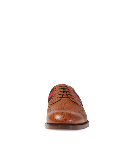Strand Leather Brogue Lace-Up Shoe w/Web Detail, Brown