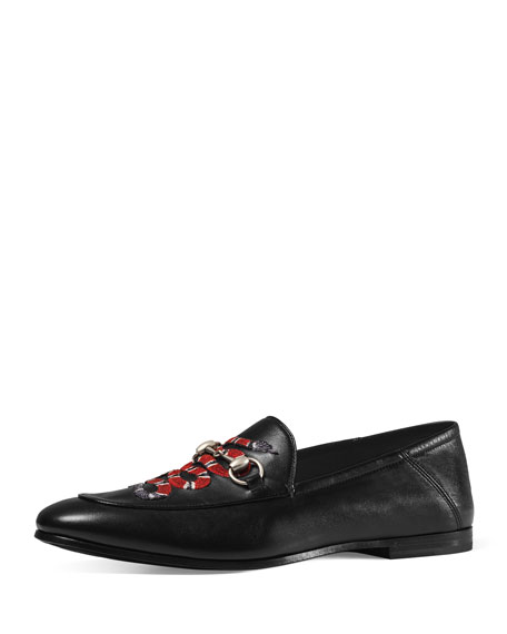Gucci Brixton Snake Fold-Back Loafer, Black