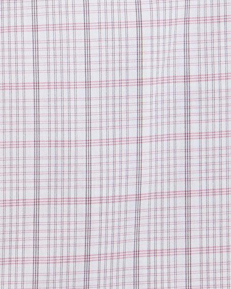 Box-Check Long-Sleeve Dress Shirt, Pink