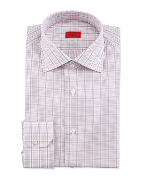Box-Check Long-Sleeve Dress Shirt, Pink