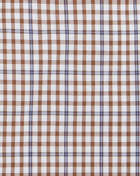 Windowpane-Check Woven Dress Shirt, Brown