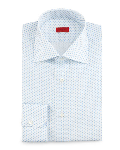 Mini-Print Woven Dress Shirt, White/Light Blue